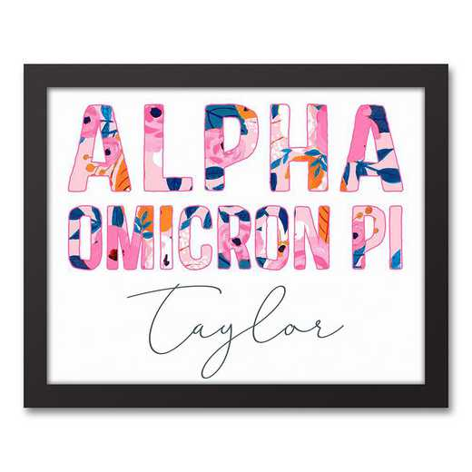 5578-AE:  Florals Alpha Omicron Pi 11x14 Pers Black Framed Canvas