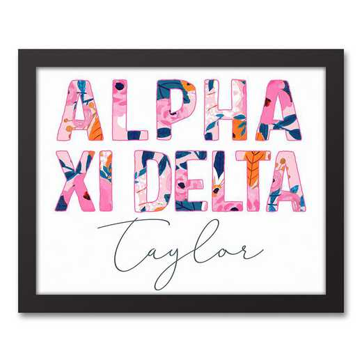 5578-AF:  Florals Alpha Xi Delta 11x14 Pers Black Framed Canvas