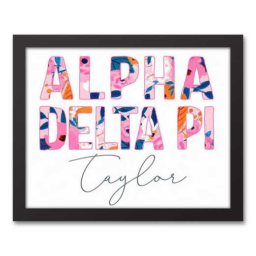 5578-AG:  Florals Alpha Delta Pi 11x14 Pers Black Framed Canvas