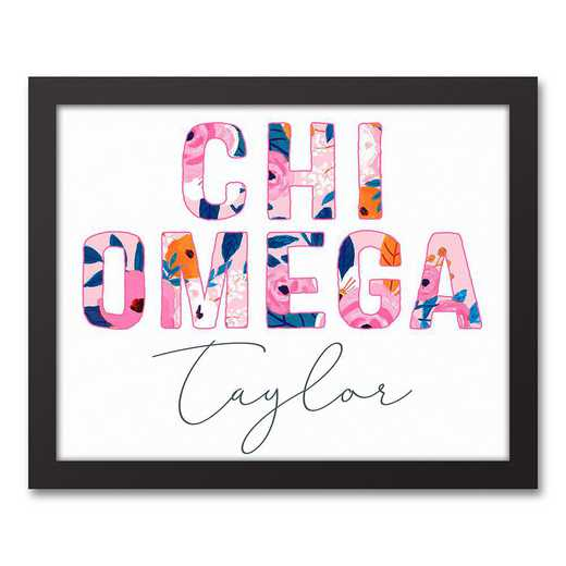 5578-AH:  Florals Chi Omega 11x14 Pers Black Framed Canvas