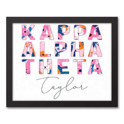 5578-AI:  Florals Kappa Alpha Theta 11x14 Pers Black Framed Canvas