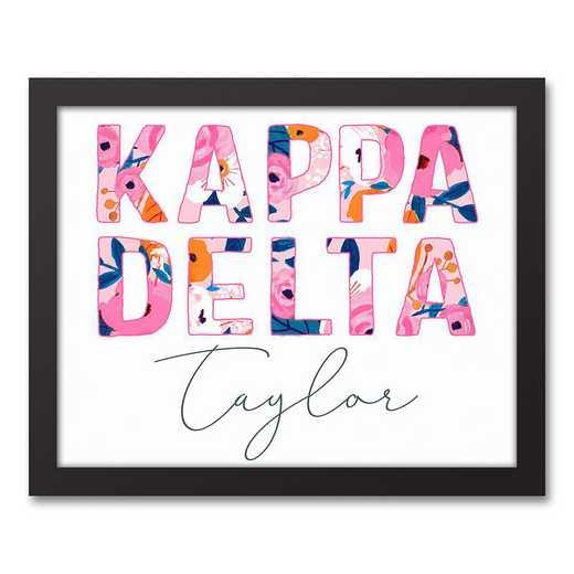 5578-AJ:  Florals Kappa Delta 11x14 Pers Black Framed Canvas