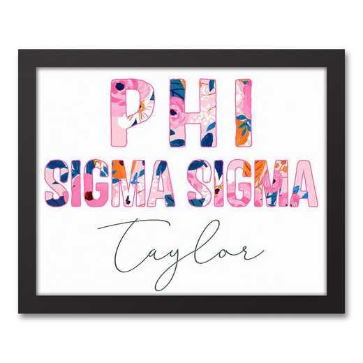 5578-AL:  Florals Phi Sigma Sigma 11x14 Pers Black Framed Canvas