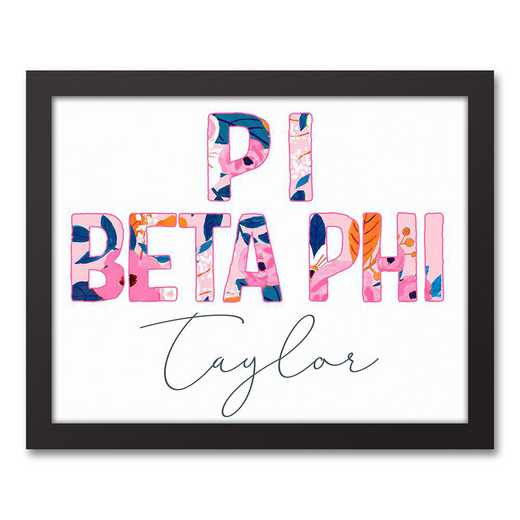 5578-AM:  Florals Pi Beta Phi 11x14 Pers Black Framed Canvas