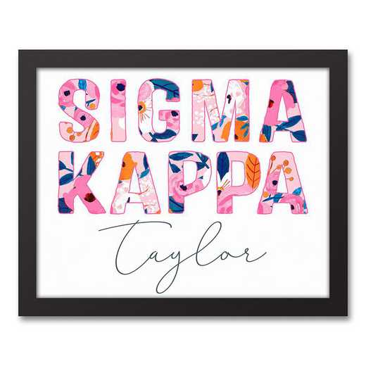 5578-AN:  Florals Sigma Kappa 11x14 Pers Black Framed Canvas