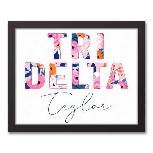 5578-AO:  Florals Delta Delta Delta 11x14 Pers Black Framed Canvas