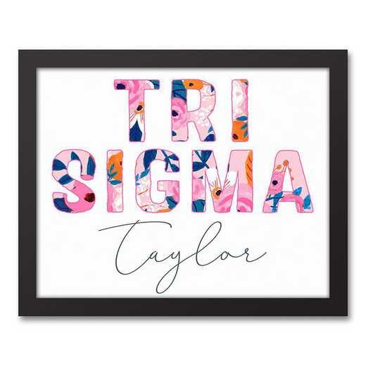5578-AP:  Florals Sigma Sigma Sigma 11x14 Pers Black Framed Canvas