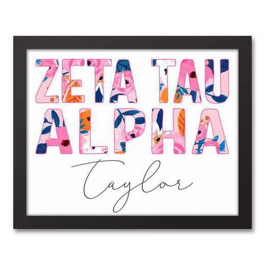 5578-AQ:  Florals Zeta Tau Alpha 11x14 Pers Black Framed Canvas