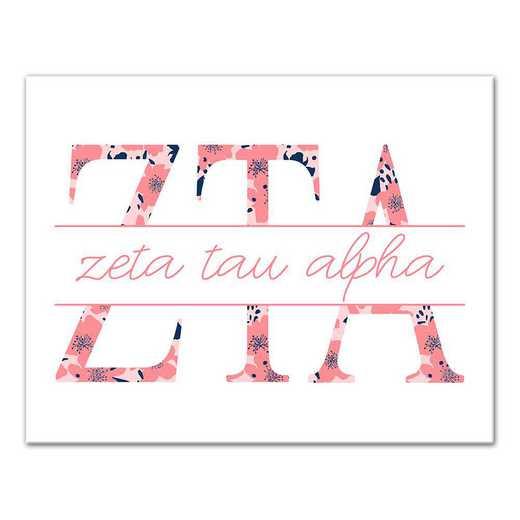 5578-N14: Floral Greek Letters Zeta Tau Alpha 11x14 Canvas Wall Art