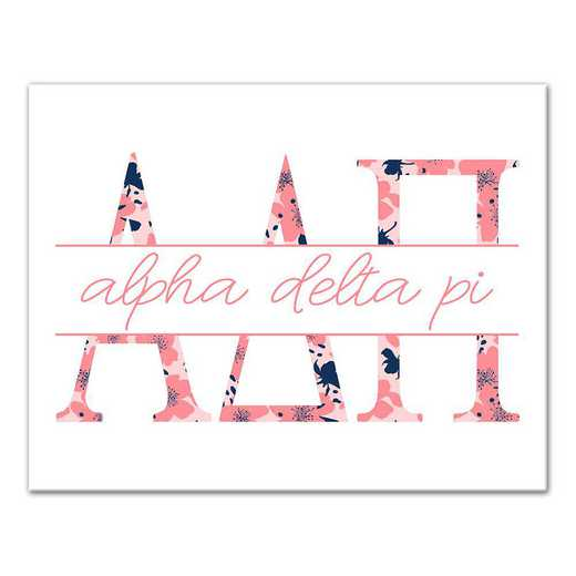 5578-N2: Floral Greek Letters Alpha Delta Pi 11x14 Canvas Wall Art