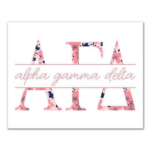 5578-N3: Floral Greek Letters Alpha Gamma Delta 11x14 Canvas Wall Art