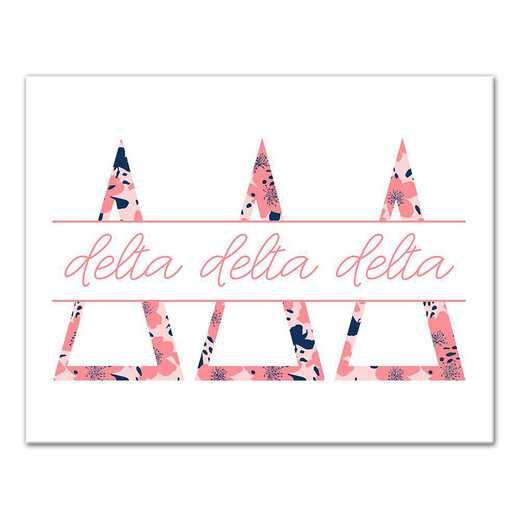 5578-N5: Floral Greek Letters Delta Delta Delta 11x14 Canvas Wall Art