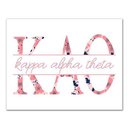 5578-N6: Floral Greek Letters Kappa Alpha Theta 11x14 Canvas Wall Art