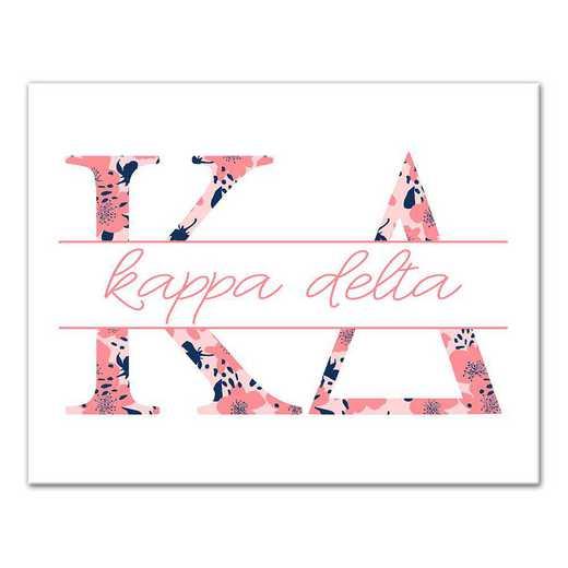 5578-N7: Floral Greek Letters Kappa Delta 11x14 Canvas Wall Art