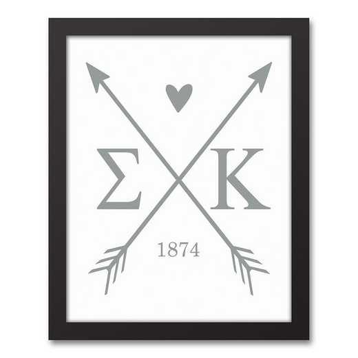 5578-O11: Crossed Arrows Sigma Kappa 11x14 Black Framed Canvas