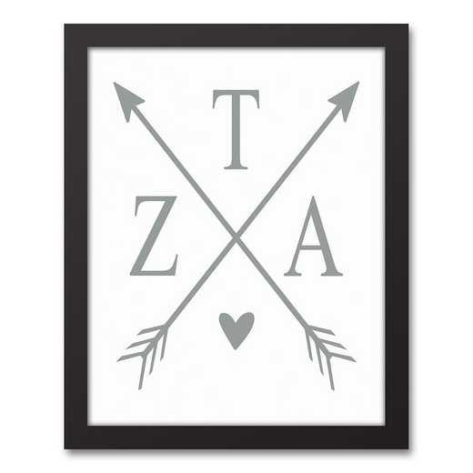 5578-O14: Crossed Arrows Zeta Tau Alpha 11x14 Black Framed Canvas