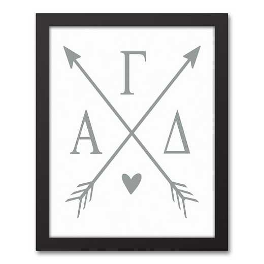 5578-O2: Crossed Arrows Alpha Gamma Delta 11x14 Black Framed Canvas