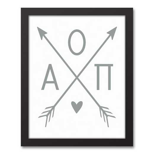5578-O3: Crossed Arrows Alpha Omicron Pi 11x14 Black Framed Canvas