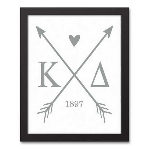 5578-O7: Crossed Arrows Kappa Delta 11x14 Black Framed Canvas