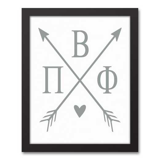 5578-O8: Crossed Arrows Pi Beta Phi 11x14 Black Framed Canvas