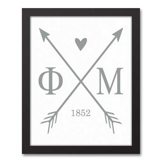 5578-O9: Crossed Arrows Phi Mu 11x14 Black Framed Canvas
