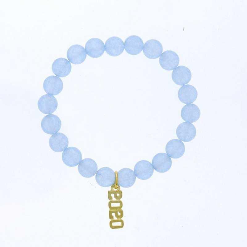 DBJ-BRC-2800BBQ: Gold tone Pewter Grad. year charm with  baby blue quartzite
