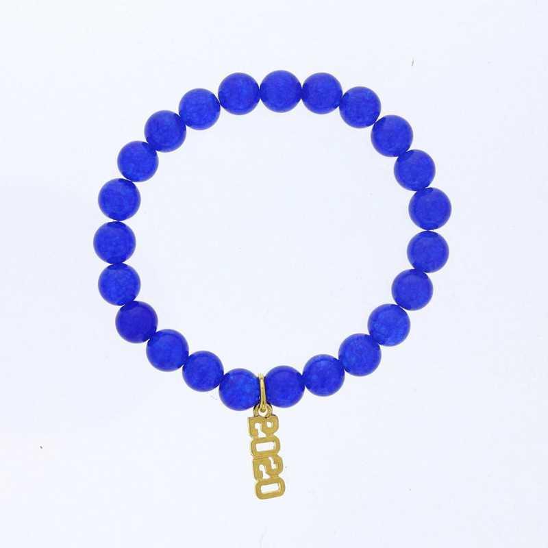 DBJ-BRC-2800BQ: Gold tone Pewter Grad. year charm with  blue quartzite