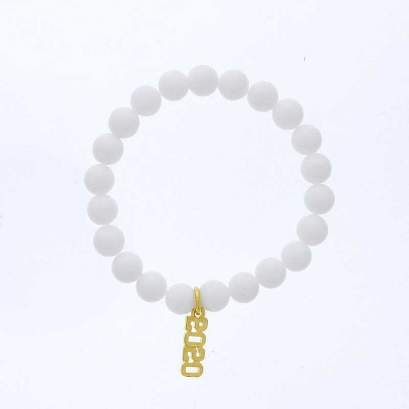 DBJ-BRC-2800CWQ: Gold tone Pewter Grad. year charm with  white quartzite