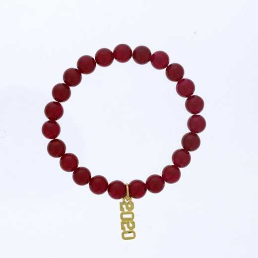 DBJ-BRC-2800RBY: Gold tone Pewter Graduation year charm with ruby agate