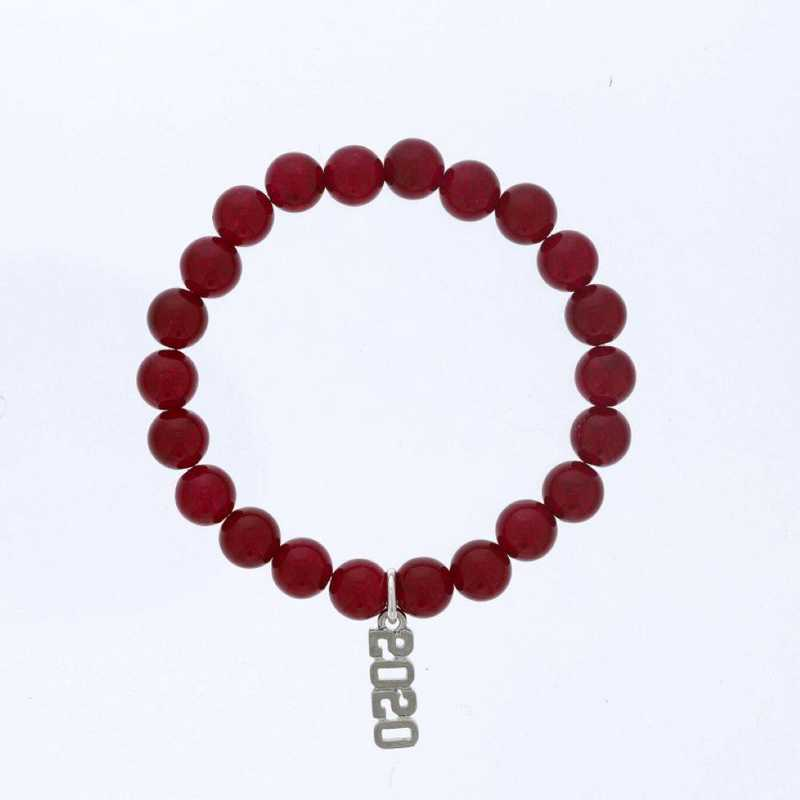 DBJ-BRC-2801RBY: Silver tone Pewter Graduation year charm with 8mm ruby agate