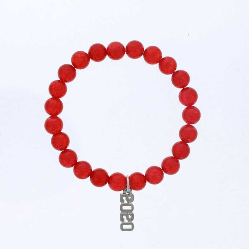 DBJ-BRC-2801RQ: Silver tone Pewter Grad. year charm with  red quartzite