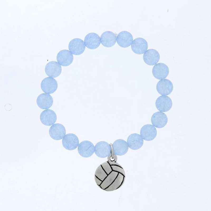 DBJ-BRC-2805BBQ: Silver tone Pewter volleyball charm with baby blue quartzite