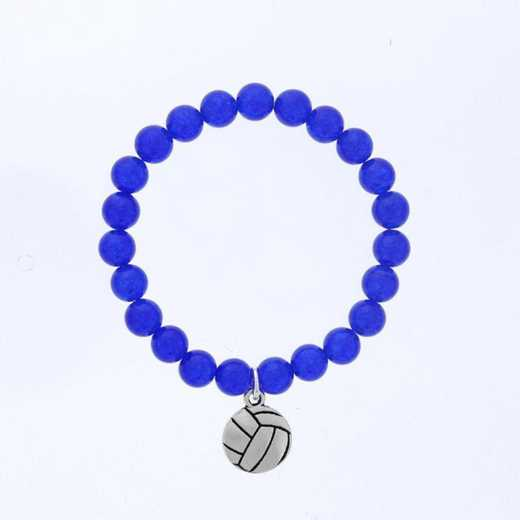 DBJ-BRC-2805BQ: Silver tone Pewter volleyball charm  with  blue quartzite
