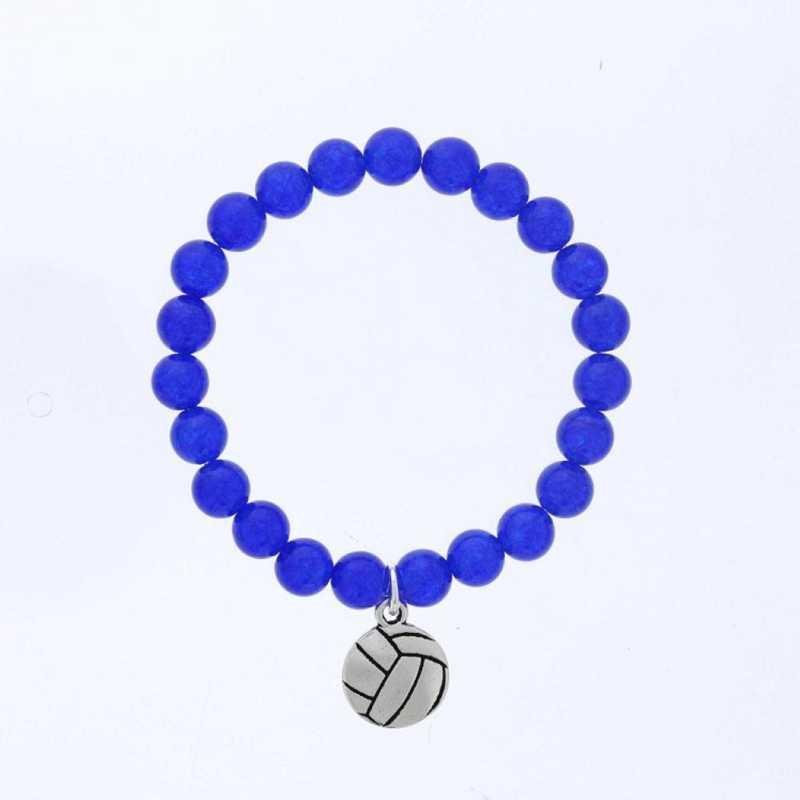 DBJ-BRC-2805BQ: Silver tone Pewter volleyball charm  with  blue quartzite