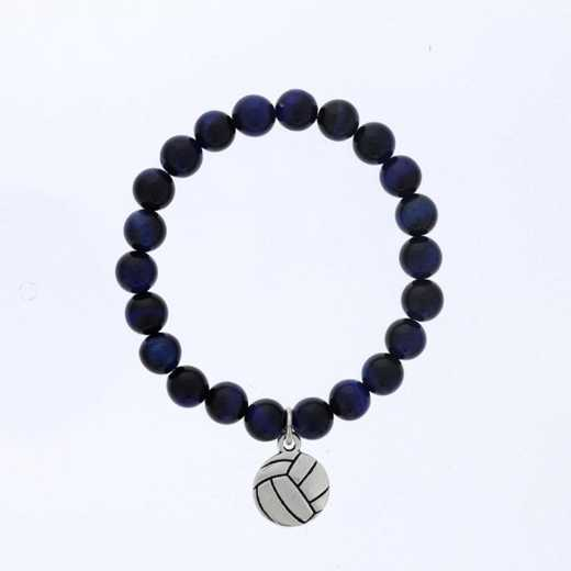 DBJ-BRC-2805BTE: Silver tone Pewter volleyball charm  with  blue tiger eye