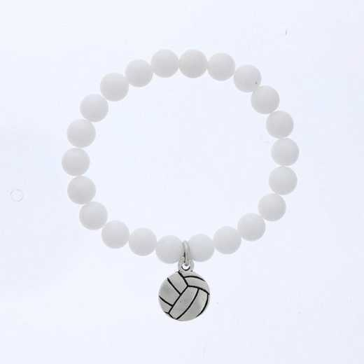 DBJ-BRC-2805CWQ: Silver tone Pewter volleyball charm  with  white quartzite