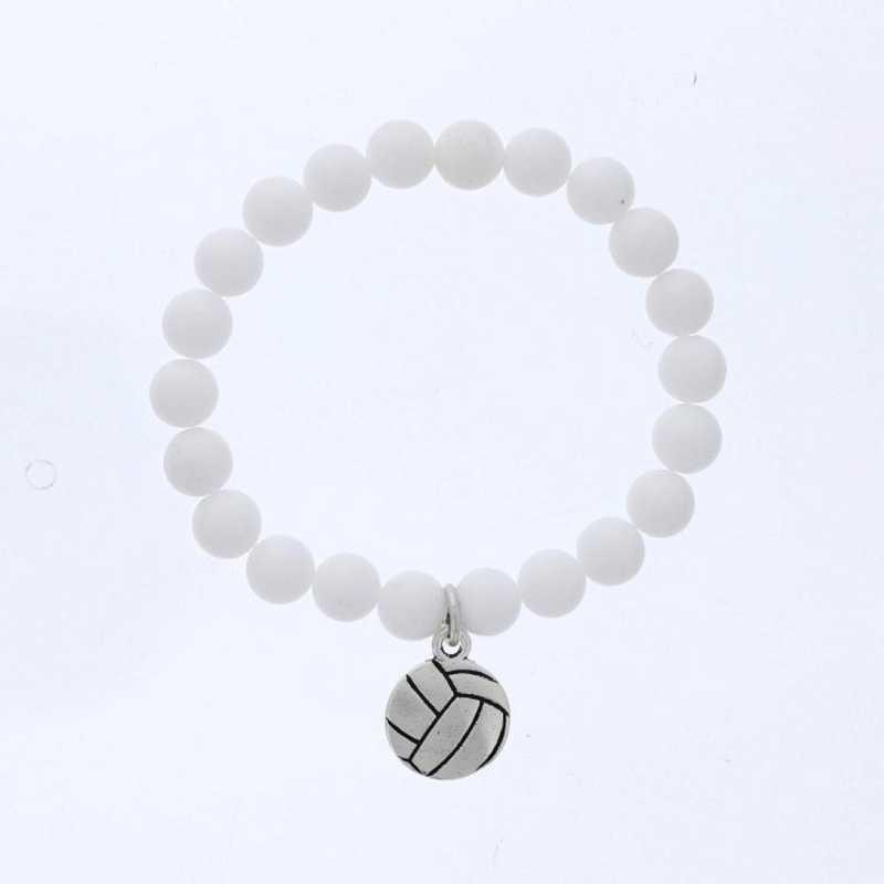 DBJ-BRC-2805CWQ: Silver tone Pewter volleyball charm  with  white quartzite