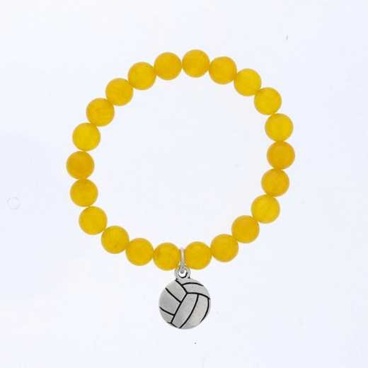 DBJ-BRC-2805DYQ: Silver tone Pewter volleyball charm with yellow quartzite