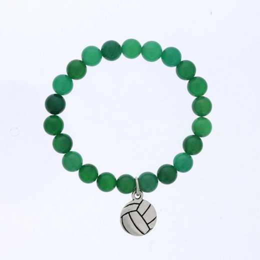 DBJ-BRC-2805EGQ: Silver tone Pewter volleyball charm  with  green quartzite