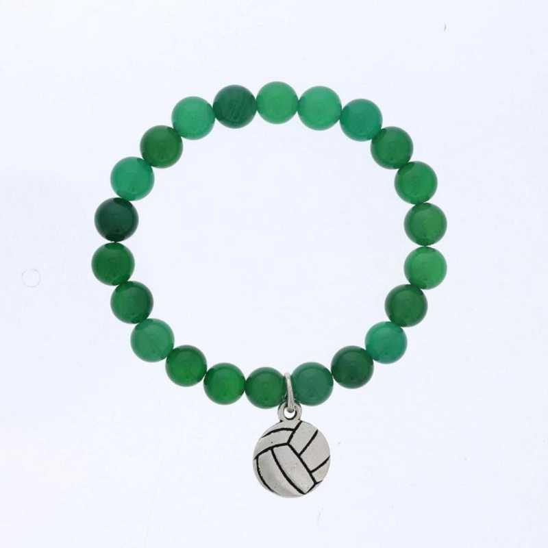 DBJ-BRC-2805EGQ: Silver tone Pewter volleyball charm  with  green quartzite