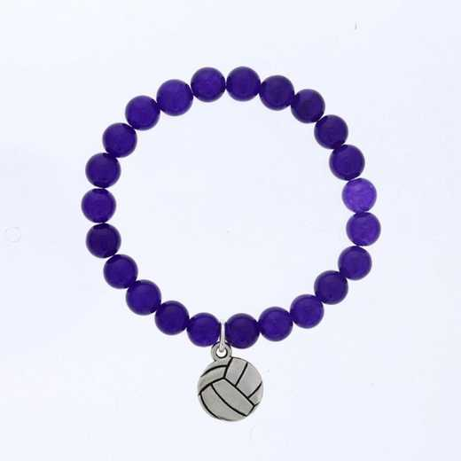 DBJ-BRC-2805PQ: Silver tone Pewter volleyball charm  with  purple quartzite