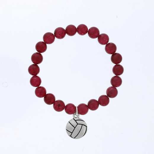DBJ-BRC-2805RBY: Silver tone Pewter volleyball charm  with  ruby agate
