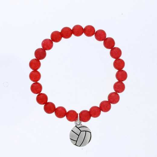DBJ-BRC-2805RQ: Silver tone Pewter volleyball charm  with  red quartzite