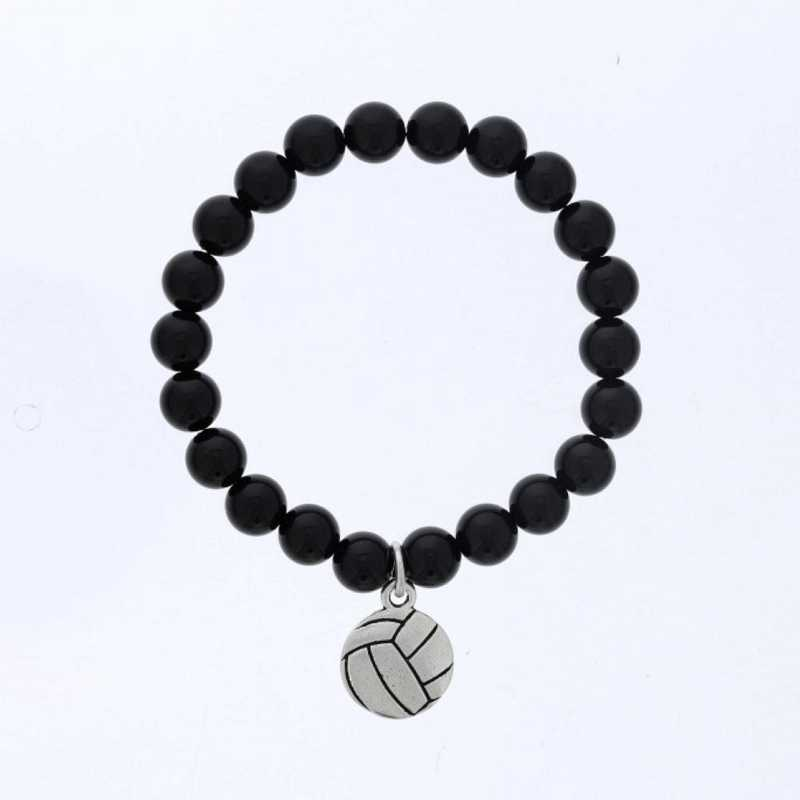 DBJ-BRC-2805SBA: Silver tone Pewter volleyball charm  with  shiny black agate