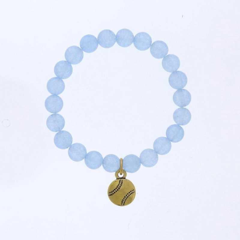 DBJ-BRC-2808BBQ: Gold tone Pewter baseball charm  with  baby blue quartzite