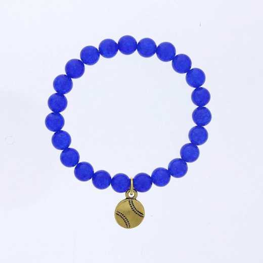DBJ-BRC-2808BQ: Gold tone Pewter baseball charm  with  blue quartzite