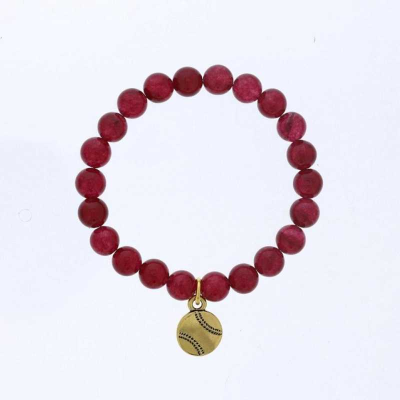 DBJ-BRC-2808RBY: Gold tone Pewter baseball charm  with  ruby agate