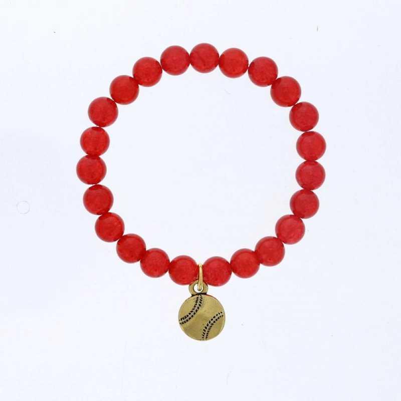 DBJ-BRC-2808RQ: Gold tone Pewter baseball charm  with  red quartzite