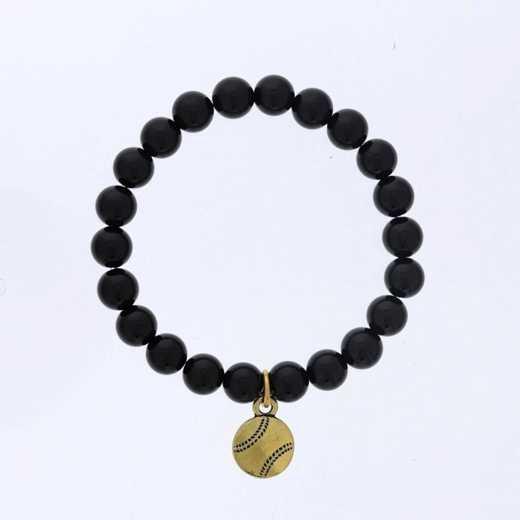 DBJ-BRC-2808SBA: Gold tone Pewter baseball charm  with shiny black agate