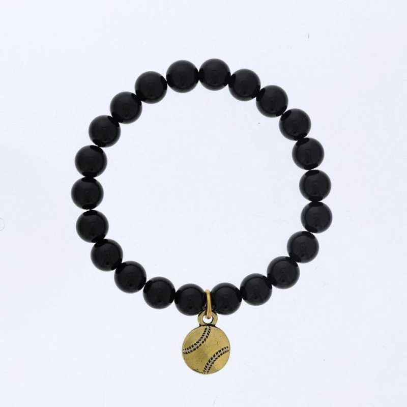DBJ-BRC-2808SBA: Gold tone Pewter baseball charm  with shiny black agate